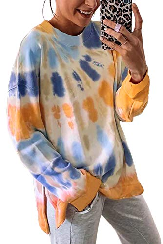 SWEET POISON Cozy tie dye Flowy Sweatshirts for Women Loose Fitting Tops Camping Crew Neck Sweater Cute Teen Girl Clothes Casual Workout Tshirt Tie Dye Pullover Tops Orange Large