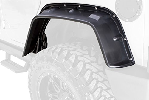 Lund FX606T-B Jeep Flat Style Textured Fender Flare with Black Bolts - 4 Piece