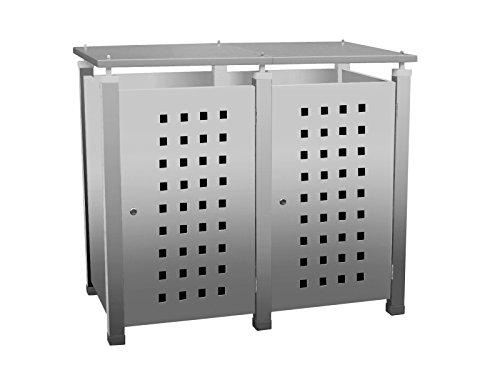 Gero metall Mülltonnenhaus, Müllbehälterschrank, Abfalltonnenverkleidung Pacco E Quad5 für Zwei 240 Liter Mülltonnen in Edelstahloptik