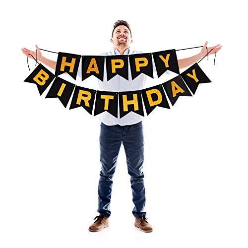 Happy Birthday Black Banner with Gold Letters Glitter Black Paper Bunting Garland Photo Booth Backdrop Hanging Felt Cardstock Party Decorations