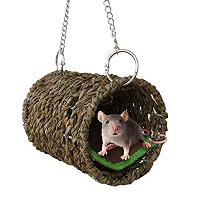 Lembeauty Small Pet Tunnel Toy Hammock Hanging Cage Swing Chewing Toy with Mat for Hamster Mice Chinchilla by Lembeauty
