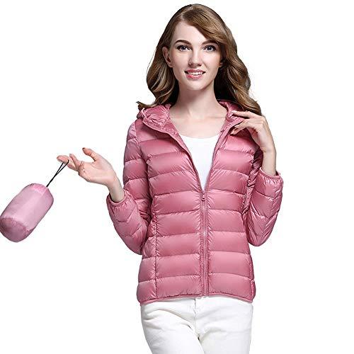 CHIYEEE Packbar Daunenjacke Damen Kapuze Ultra Leichtgewicht Langer Winter Kugelmantel mit Tragetasche Rosa M