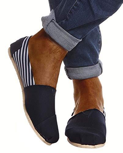 Leif Nelson Herren Espadrilles Gestreifte Schuhe für Freizeit Urlaub Freizeitschuhe für Sommer Flache Männer Sommerschuhe Sneaker Weiße Schuhe für Jungen Slipper LN101S; 44, D. Blau-Gestreift