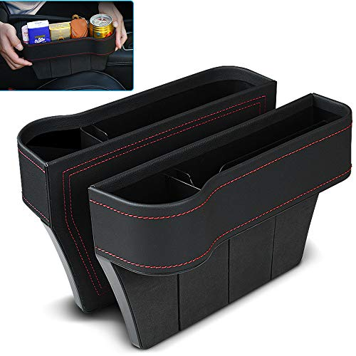 VVHOOY Car Seat Gap Filler, PU Leather Car Seat Organizer with Cup Holder, Console Side Pocket, Car Seat Storage Box for Wallet Cellphone Coins Keys Cards Drink Cups Candy Glasses (2 Pack,Black)