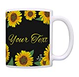 Yellow Floral Mug Your Text Customized Coffee Mug Personalized Gift Coffee Mug Tea Cup Sunflower