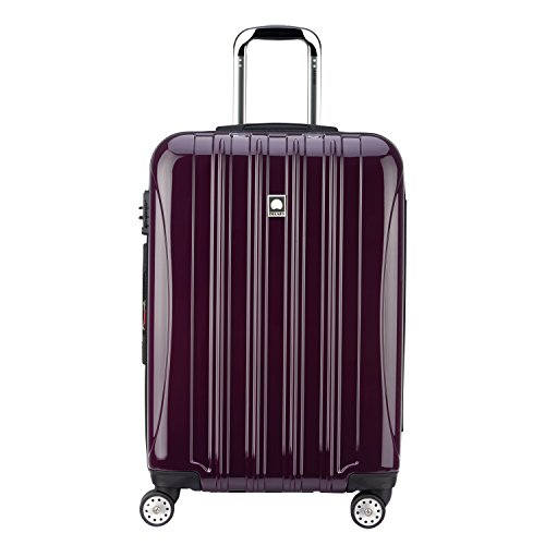 DELSEY Paris Helium Aero Hardside Expandable Luggage with Spinner Wheels, Plum Purple, Checked-Medium 25 Inch