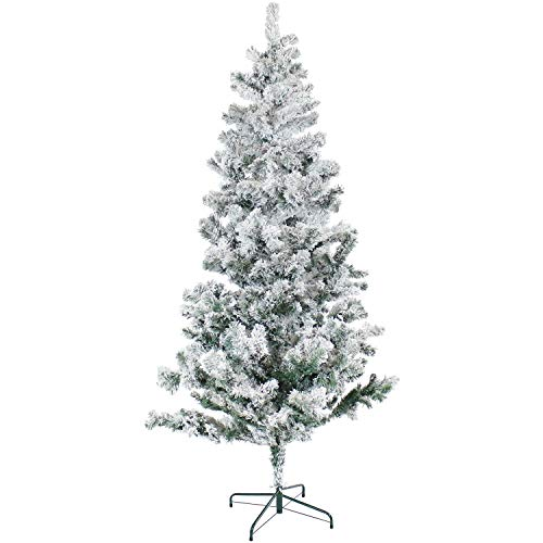 Sunnydaze Faux Canadian Pine Flocked Christmas Tree - Indoor Unlit PVC Artificial Tree with Metal Stand - Hinged Branches Dusted in Faux Snow - Full Profile - Easy to Assemble - 7-Foot