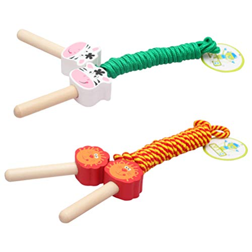 Amazing Deal TOYANDONA 2pcs Kids Jump Rope Wooden Handle Cartoon Skipping Rope Adjustable Fitness Ju...