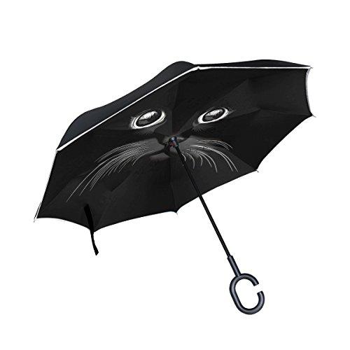 isaoa Große Schirm Regenschirm Winddicht Doppelschichtige seitenverkehrt Faltbarer Regenschirm Verwendung für Auto,C-förmigem Henkel Regenschirm schwarz Katze Regenschirm für Damen und Herren
