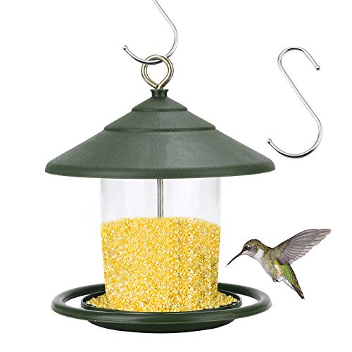 Elinala Mangiatoie per Uccelli Selvatici, Mangiatoia per Uccelli da Giardino, Mangiatoia per Uccelli da Appendere da Giardino in Plastica Trasparente per Balcone (Verde)