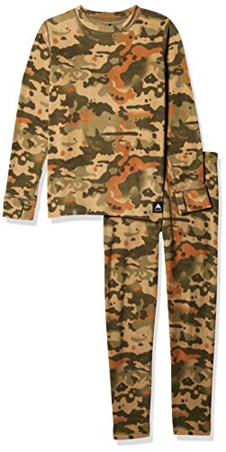 Burton Kids Fleece Base Layer Set, Kelp Birch Camo, X-Small