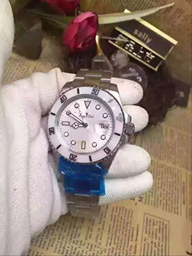 LKYH Klassische Armbanduhr Damen Automatische mechanische Uhr Silber Schwarz Rosa Weiß Blau Keramik Lünette Edelstahl SaphirglasSilber Weiß