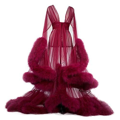 ZZYYLL Damen sexy Kimono Feder Morgenmantel Transparent Spitze Nachthemd Ausgestellte Ärmel Nachtwäsche mit Gürtel,Wine red
