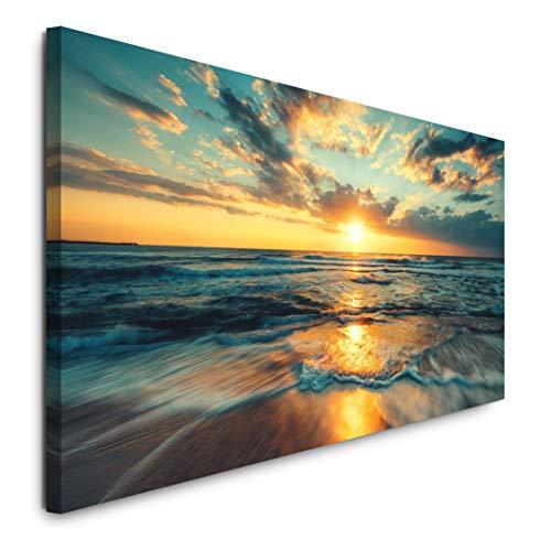 Paul Sinus Art GmbH schöner Strand 120x 50cm Panorama Leinwand Bild XXL Format Wandbilder Wohnzimmer Wohnung Deko Kunstdrucke