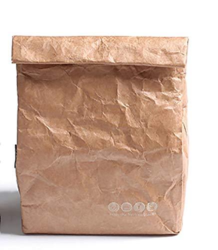 6L Brown Papier Sac À Lunch Réutilisable Boîte Sac Durable Isolé Thermique Kraft Sac De Papier Snack Cooler Pique-Nique Conteneur