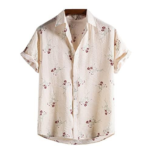 Camisa De Solapa Ajustada Juvenil Ordinaria Informal Estampada De Verano para Hombre