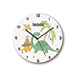 Sungwon 12 inch Personalized Dinosaur Kids Wall Clock, Kids Wall Clock with Name, Educational Clock, Silent Movement Non Ticking Quartz Wall Clocks, Kids Birthday Gift, Children Room Decor