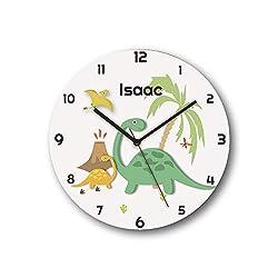Sungwon 12 inch Personalized Dinosaur Kids Wall Clock, Kids Wall Clock with Name, Educational Clock, Silent Movement Non Ticking Quartz Wall Clocks, Kids Birthday Gift, Children Room Decor