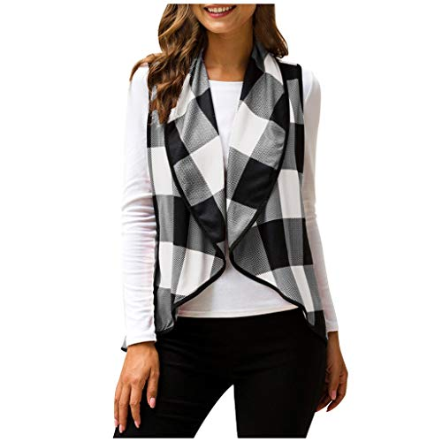 Great Price! NEARTIME Womens Color Block Outwear Casual Lapel Open Front Plaid Vest Cardigan Coat wi...
