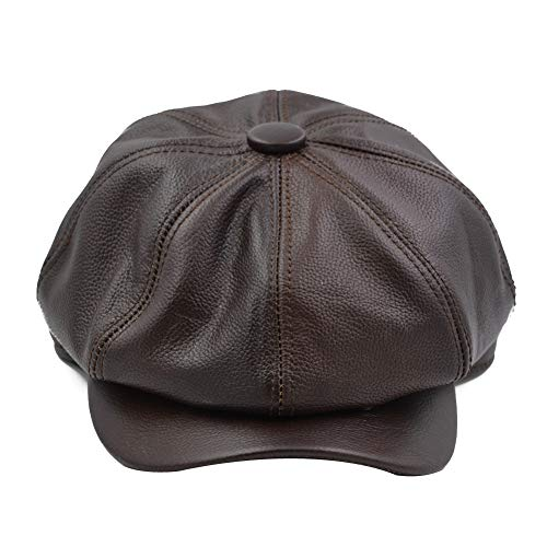 Yosang Fashion Men's Leather Classic 8 Panel Gatsby Newsboy Ivy Hat Brown