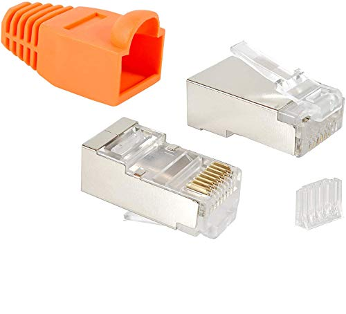 VESVITO 20er Pack RJ45 CAT 6 STP Crimpstecker für CAT6 CAT5e CAT6A Netzwerkkabel Verlegekabel AWG 24-27, für CAT7 Patchkabel AWG 27, Adern Ø 0,9-1,1 mm Netzwerkstecker Stecker Ethernet Kabel, orange