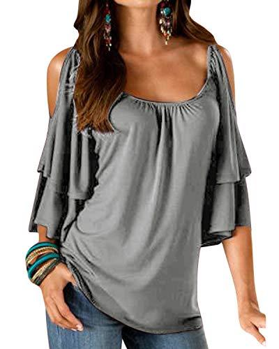 YOINS Tshirt Damen Bluse Kurzarm Schulterfrei Oberteil Damen Shirt Sommer Carmen Rundhals Einfarbig Tops