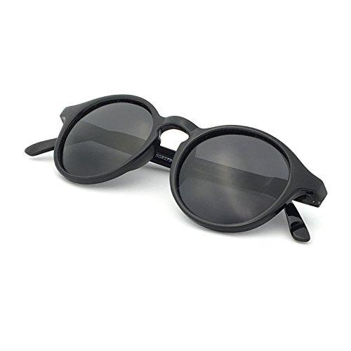 J+S Hali Retro Round Cat Eyes Sunglasses, Polarized, 100% UV protection, Spring Hinged (Black Frame/Black Lens)