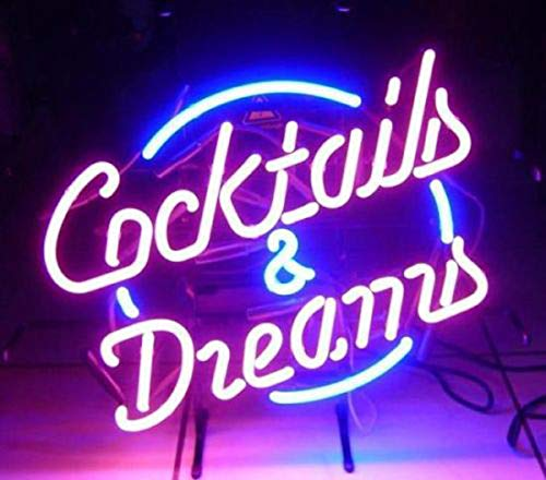 LDGJ Cocktails and Dreams Neon Light Sign Home Bar Pub Recreation Room Game Lights Windows Glass Wall Signs Party Birthday Bedroom Bedside Table Decoration Gifts (Not LED)