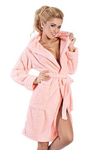 Damen Bademantel kurz mit Kapuze - Flauschiger Saunamantel Morgenmantel Nachtwäsche Diana (L, Lachs)