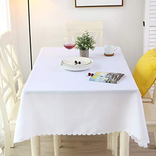 DJUX Mantel de Color sólido Mantel de Conferencia Rectangular Mantel Restaurante Occidental Blanco Europeo Simple 160x240cm