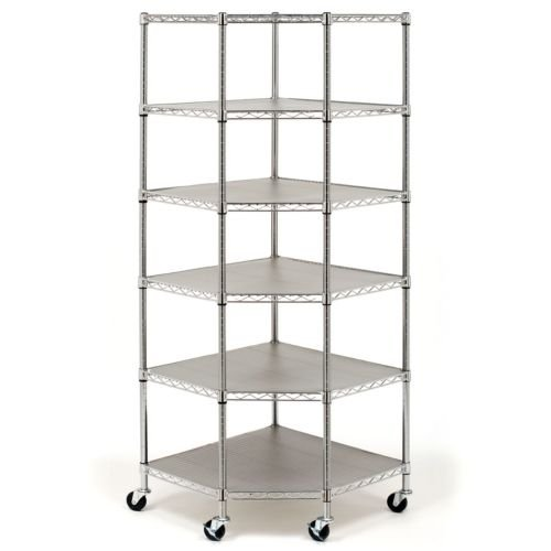 Heavy Duty Wire Steel 6-Tier Corner Shelf Garage Storage Shelving Rack