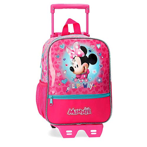Disney Mochila con Carro Minnie Help on The Day, Rosa, 23x28x10 cm