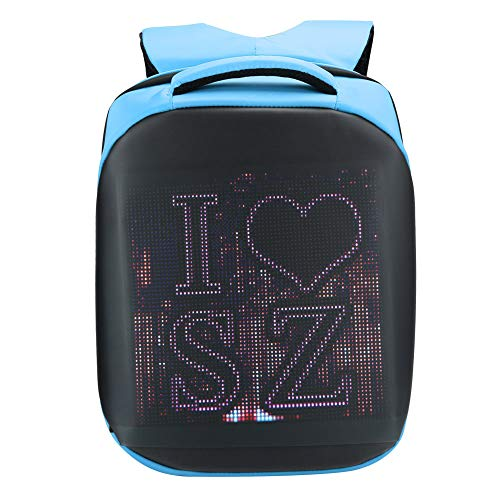Yctze 20L Waterproof LED Backpack S-shaped Adjustable Shoulder Strap Comfortable Hand‑Held Used to store small items, documents, clothing(Lake Blue)