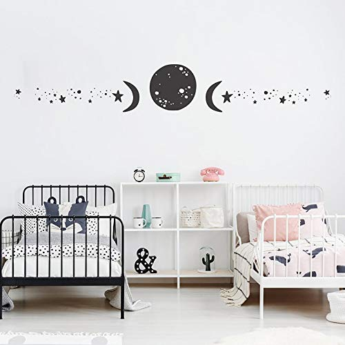 Fase lunar etiqueta de la pared estrellas luna vinilo pegatina decoración moderna zodiaco mural arte papel pintado impermeable W 70 pulgadas