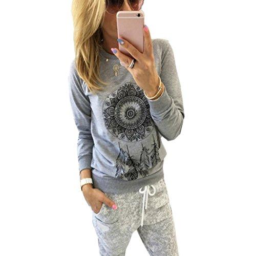 Kolylong® Bluse Damen Frau Feder gedruckt Muster Bluse Tops (M, Grau)