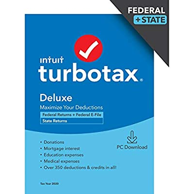 TurboTax Deluxe 2020 Desktop Tax Software, Federal and State Returns + Federal E-file (State E-file Additional) [Amazon Exclusive] [PC Download]