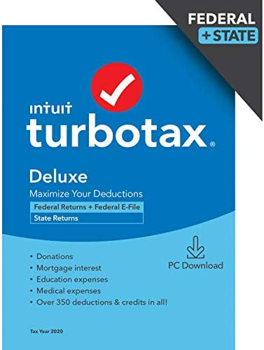 TurboTax Deluxe 2020 Desktop Tax Software Federal and State Returns Federal E file Amazon Exclusive product image