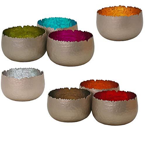 netproshop Strahlender Teelichthalter Windlicht Dekoschale Metall Silber 8x6 cm div. Farben, Farbe:Türkis