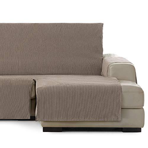 Vipalia Cubre Sofa chaiselongue Ajustable. Funda de Sofa Chaise Longue Brazo Derecho Largo. Protector Antimanchas. Color Vison. Chaise Largo Derecha