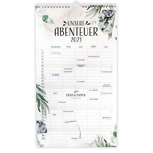 """HERZ & PAPIER Familienplaner 2021 """"Unsere Abenteuer"""" • Weißer Wandkalender 2021 mit 5 Spalten im bunten Aquarell Design • Jahreskalender"""