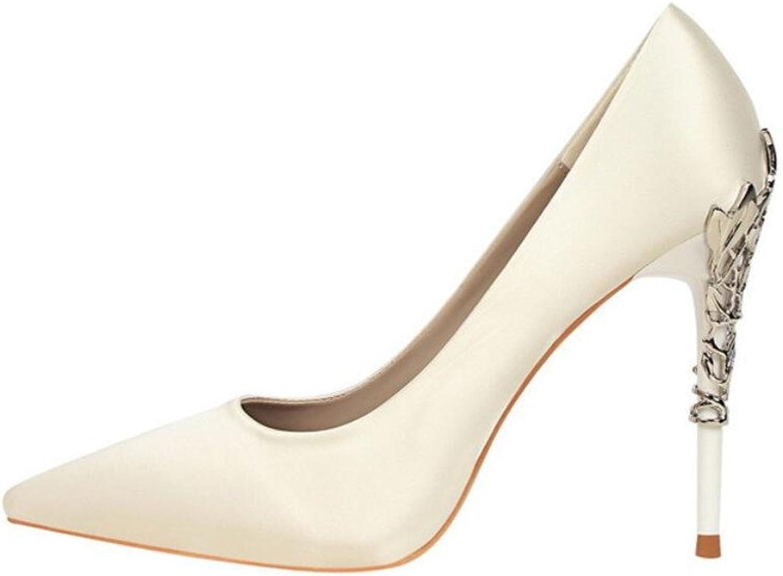 Pointed Toes Kitten Heels Stiletto Heel Ladies Women Girls Ladies Court shoes Satin Sandals Classic shoes,White,EU39