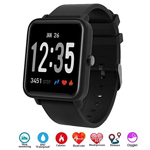 Letopro Fitness Tracker IP68 Impermeable Monitor, Rastreador de Pulsera Actividad Smartwatch Soporte Monitor de Ritmo cardíaco Podómetro de presión Arterial para Android iOS Mujeres Hombres(Negro)
