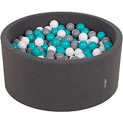 KiddyMoon 90X40cm/300 Balles ∅ 7Cm Piscine À Balles pour Bébé Rond Fabriqué en UE, Gris Foncé:Gris/Blanc/Turquoise
