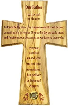 The Lord s Prayer Wall Cross Olive wood Handmade in Bethlehem and Jerusalem the Holy Land One product image