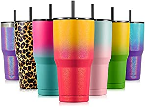 Zibtes 30oz Insulated Tumbler With Lids and Straws, Stainless Steel Double Vacuum Coffee Tumbler Cup, Powder Coated Travel Mug for Home, Office, Travel, Party (Campfire 1 pack)