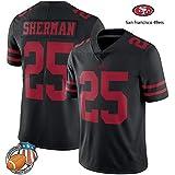 YWEIWEI NFL San Francisco 49ers # 25 Richard Sherman Fan Jersey Broderie Courte SleeveSport T-Shirt Américain Sweat-Shirt De Football Black-L