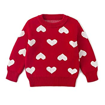Simplee kids Baby Sweater Red Pullover Coat Cotton Sweater Patterns to Knit Heart for Autumn Fall and Winter 18-24 Months