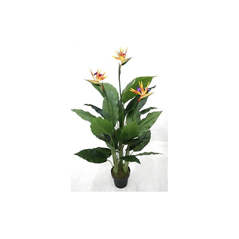 silk flower arrangements amerique 4.5 feet tropical paradise bird artificial tree with 33 leaves and 3 flower sprays, pre-potted with nursery pot, real touch tech., green and orange