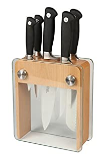 Mercer Culinary M20050 Genesis 6-Piece Forged Knife Block Set, Wood Block with Tempered Glass (B00MRU46AQ) | Amazon price tracker / tracking, Amazon price history charts, Amazon price watches, Amazon price drop alerts