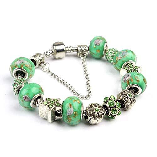 ZLININ Y-longhair - Pulsera de cristal retro con diseno de estrella de cinco puntas, tamano grande, 20 cm, color verde